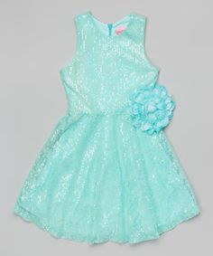 Another great find on #zulily! Mint Sequin Lace Dress - Girls by Lipstik Girls #zulilyfinds