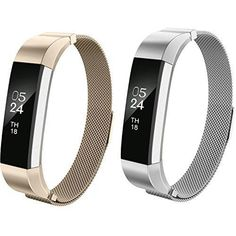 For Fitbit Alta HR and Alta Bands AIUNIT Replacement Milanese Loop Stainless Steel Metal Bands With Magnet Lock 2pack SilverChampagneGold (No Tracker)