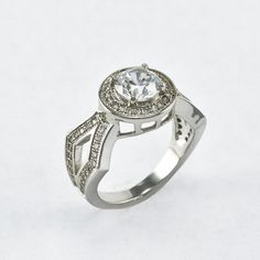 A Perfect Antique 2CT Russian lab Diamond Engagement Ring