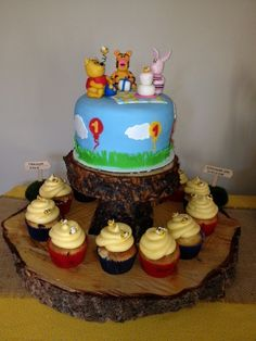 Winnie the Pooh Birthday Party Cake Stand - 2 tier wood cake stand by postscripts.etsy.com