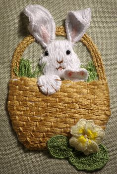 Stumpwork embroidery Rabbit in a Basket
