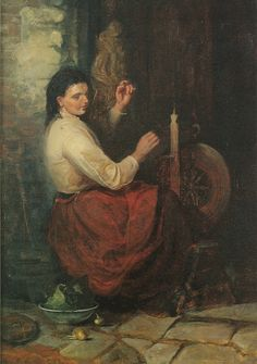 1874.  Mansel Lewis.  Woman at a Spinning Wheel.