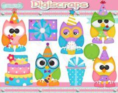 Birthday Owls Clip Art Set - Clipart scrapbooking set downloadable image