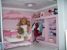 American Girl Dollhouse, My hubby and I had fun designing and making this dollhouse., Lanie and Roses room. My hubby and I made the closet and I sewed the bedding. , Girls Rooms Design
