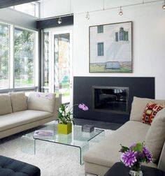 Home Decor, Large And White Inspiration Room With Square All Glass Coffee Table With The Smart And Beautiful Design Ideas For Your Room With Hanging Lamp Also Fireplace With Green Flower Vase ~ The All Glass Coffee Table Design That Can Add Your Room Elegant Impression