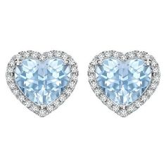 Kiki McDonough Grace Collection Blue Topaz and Diamond Heart Stud Earr ❤ liked on Polyvore featuring jewelry, earrings, heart shaped stud earrings, earring jewelry, heart jewelry, heart shaped earrings and stud earrings