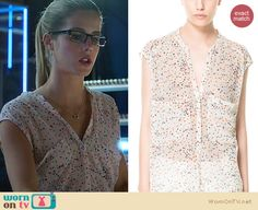 Felicity's white top with multi-colored dots on Arrow. Outfit Details: http://wornontv.net/21189 #Arrow #TheCW