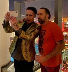 The crossover weve all been waiting for. Proof that Marilyn Manson and Nicholas Cage are Not the same person Marilyn Manson, Cinema, Secret Obsession, Cute Guys, Music Bands, Crossover, Celebs, Male Celebrities, Instagram