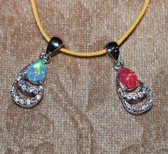 fire opal Cz necklace pendant gemstone silver jewelry delicate classic cocktail  #Pendant