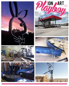 Ion Art creates 20' neon and metal Playboy Bunny. The sculpture sits on a 40' pole along HWY 90 in Marfa, Texas