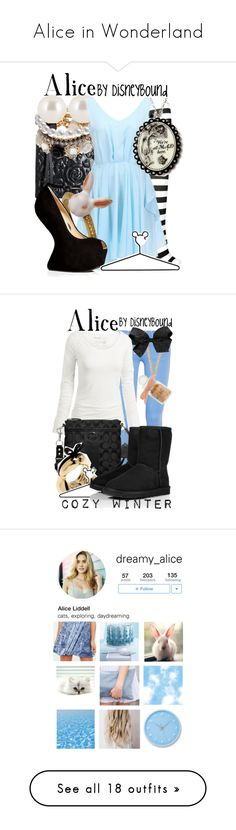 """Alice in Wonderland"" by starrydancer ❤ liked on Polyvore featuring Christopher Kane, Henri Bendel, Giuseppe Zanotti, Disney, disney, Juicy Couture, And Mary, Fat Face, Coach and UGG Australia"