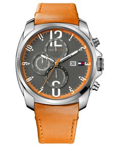 Tommy Hilfiger Watch, Men's Orange Leather Strap 45mm 1790832 - Men's Watches - Jewelry & Watches - Macy's
