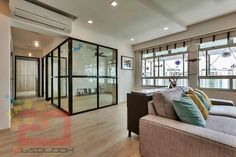 5-Room BTO @ 331B Anchorvale Harvest by Absolook Interior Design love how the black framed glass walls look~