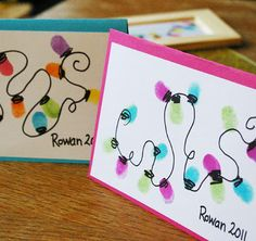 Maybe I'll have the grandkids do some thumbprints at Thanksgiving! Christmas Card :: Thumb Print String of Lights