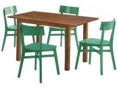 Conjunto de Mesa com 4 Cadeiras Happy Móveis AF - Mesas e Cadeiras de Jantar - Magazine Luiza