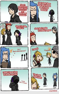 days spoof: eye of the beholder by Modern Day AU: A lot of people mistake Xion for someone else, even if she and the person they are mistaking her with don't look similar at all. Kingdom Hearts 3, Funny As Hell, Jojo's Bizarre Adventure, Funny Comics, Best Games, Final Fantasy, Memes, Videogames, First Love