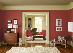 Benjamin Moore Paint Colors   Red Living Room Ideas   Crisp Coral Living  Room   Paint