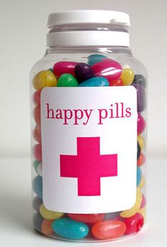 pill bottle filled with jelly beans