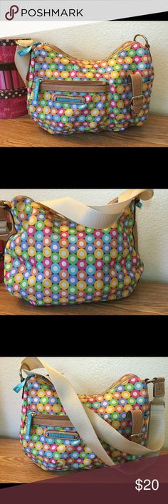 Lily Bloom super colorful handbag Long adjustable shoulder strap, multiple zipper and slip pockets.   L-13 inches / H-10 inches.  Gently used, excellent condition. lily bloom Bags Shoulder Bags