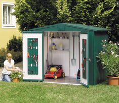 An amazing outdoor storage solution. The Biohort Europa is an exceptionally customizable garden shed designed to withstand the elements and provide plenty of storage for your garden equipment. #GardenSheds #GardenshedsIreland #OutdoorEquipment Storage Shed Kits, Shed Organization, Garden Tool Storage, Storage Ideas, Small Storage, Shed Sizes, Shed Base, Clutter Solutions, Build Your Own Shed