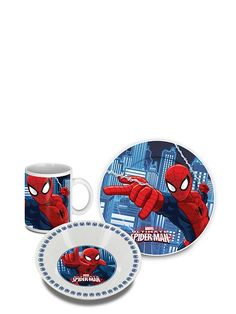 Spider-Man-aamiaissetti Spiderman, Marvel, Plates, Tableware, Spider Man, Licence Plates, Dishes, Dinnerware, Plate