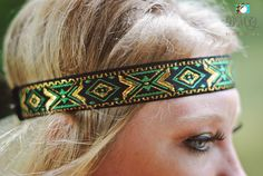 Green Tribal Headband Green Boho Headband Gold Boho by Pizzazzies, $8.00