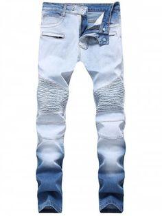 Slimming Hook Button Ombre Biker Jeans
