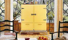 Meneghini     Meneghini Mia Refrigerator in yellow and chrome!