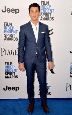 At the Independent Spirit Awards in Santa Monica, Miles Teller wears a blue suit by BOSS. Discover eveningwear: hugoboss.com/suitedbyboss