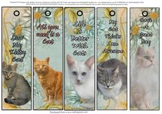 5 Very Cute Cat Bookmarks 2 by Di Simpson These are so cute. Bookmarks make lovely gifts for all ages and situations. Best printed onto glossy paper and then laminate and thread a nice ribbon at the top.