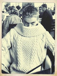 the lovely Jean Seberg wearing a very current look in a very vintage cabled sweater (circa 1960)…