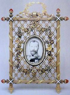 Faberge gold and pearl picture frame of Tsar Nicholas II.