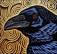 Raven woodcut by Lisa Brawn - Calgary woodcut artist using mostly salvaged Douglas Fir. Crow Art, Raven Art, Bird Art, Illustrations, Illustration Art, Yennefer Of Vengerberg, Rabe, Scratchboard, Art Graphique