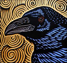 Raven woodcut by Lisa Brawn - Calgary woodcut artist using mostly salvaged Douglas Fir. http://www.lisabrawn.com/index.php/about - I like her work.. but it also gives me ideas....