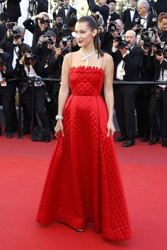 Bella Hadid In Red Dior - 2017 Cannes Film Festival