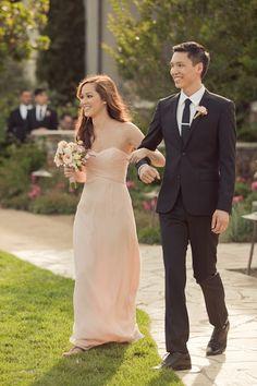 Long and peach. Amsale.  Bridesmaid dress option