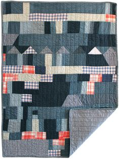 Modern blue quilt from Pattern Pulp - Geometry & Gina Rockenwagner