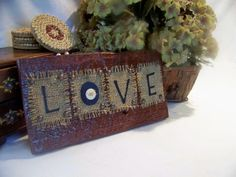 LOVE Primitive Christmas Decor Handmade Barn by arborfieldmanor. , via Etsy.