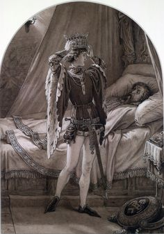 Prince Hal trying on his sleeping father's crown  Henry IV, Pt. 2, Act IV, Sc. ii by Sir J.N. Paton