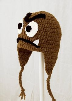 900adadf763 Goomba Earflap Hat from Super Mario Bros Childrens Crochet Hats