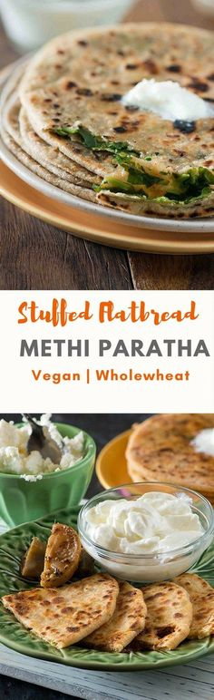 Methi paratha recipe: stuffed methi paratha or Stuffed Flatbread is a crispy paratha stuffed with flavourful fresh leaves of methi. You can for breakfast with curd or with dal or sabzi for a delicious winter meal. Vegan Indian Recipes, Vegetarian Recipes, Snack Recipes, Cooking Recipes, Vegetarian Cooking, Vegan Meals, Diabetic Recipes, Bread Recipes, Snacks