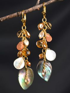 Perfect Fall Fashion earrings! Handmade with Abalone, Mother of Pearl, Peach Zircon, Citrine and Pearls. by Harmony Scott
