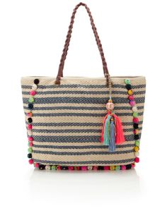 Cara Pom Pom Striped Tote | Multi | Accessorize