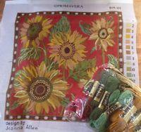 "RARE RETIRED primavera joanna allen sunflowers tapestry needlepoint kit 16""x16"""