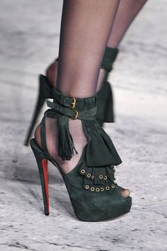 Christian Louboutin Black/Green Suede Tassels High Heels
