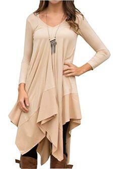 f708054831d Womens Asymmetrical Casual Feminine Long Sleeve Tunic Shirt Dress (Asian Size  S(US XS)