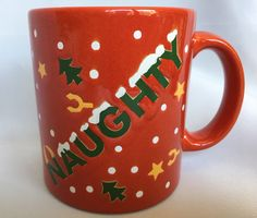 Waechtersbach Naughty And Nice Christmas Mug Red Green White and Gold Made In Germany Vintage Ceramic Cup by BlueHeavenVintage on Etsy