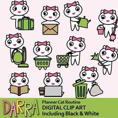 White cat clipart, kawaii kitty clipart, commercial use for planner stickers / to do list routine activities / house work