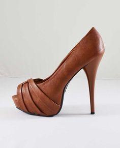 Cognac peep toes | tan peep toes | whisky heels | camel peep toes  | Bamboo Colada 64 Chestnut Peep Toe Platform Pumps - Shoes | LoveShoppingMiami.com