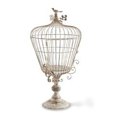 "New at Huckleberry Farmhouse! Stunning French Country wire birdcage on a pedestal. 28 1/2"" h x 14"" w. Check out our store for tons of farmhouse decor, handmade items, gifts, jewelry and so much more!"